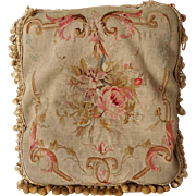 French Aubusson Tapestry and Tasseled Pillow