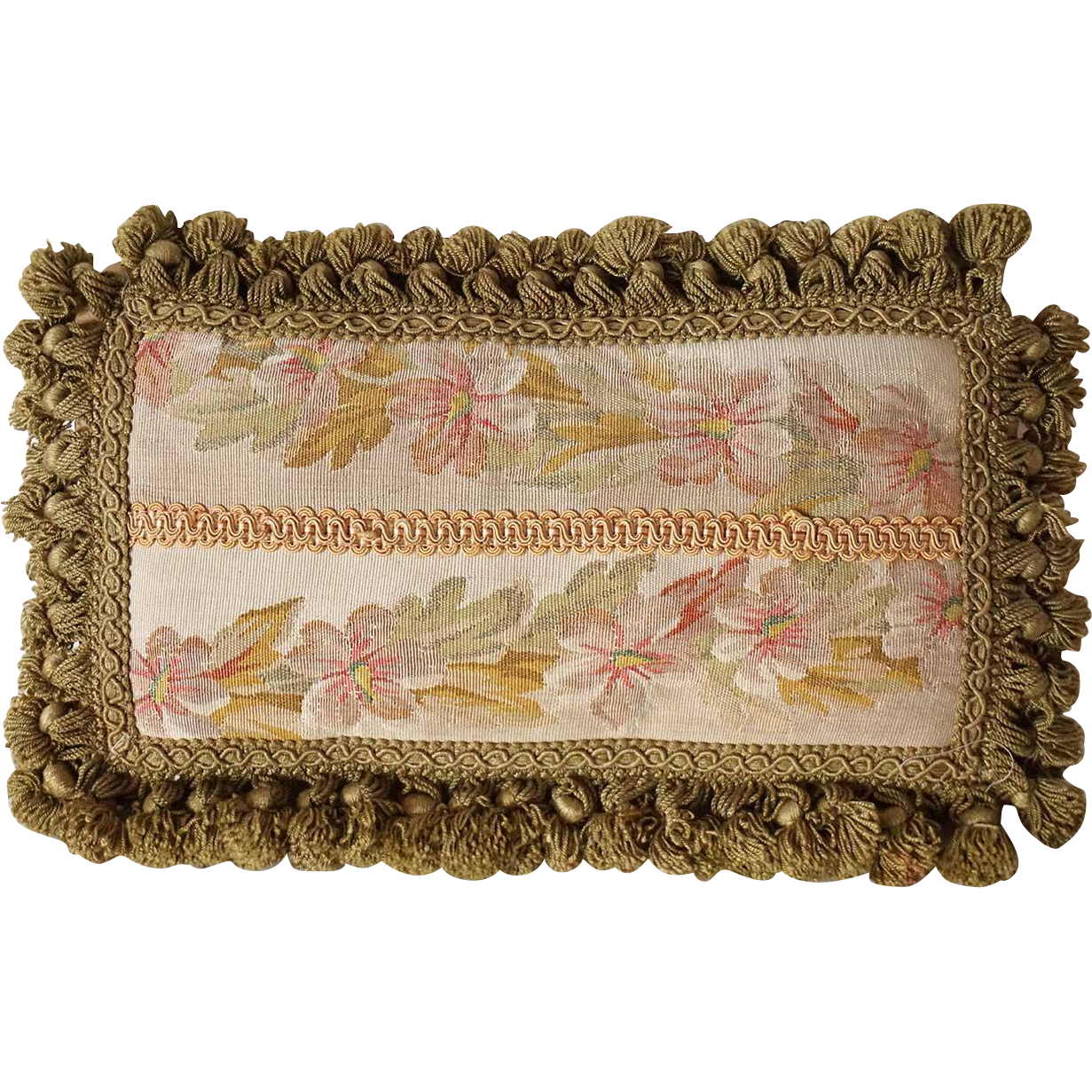 Small French Aubusson Tapestry and Tasseled Lumbar Pillow