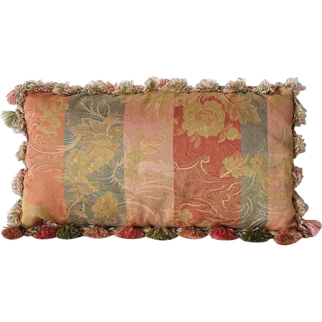 Striped Damask Upholstered and Tasseled Pillow