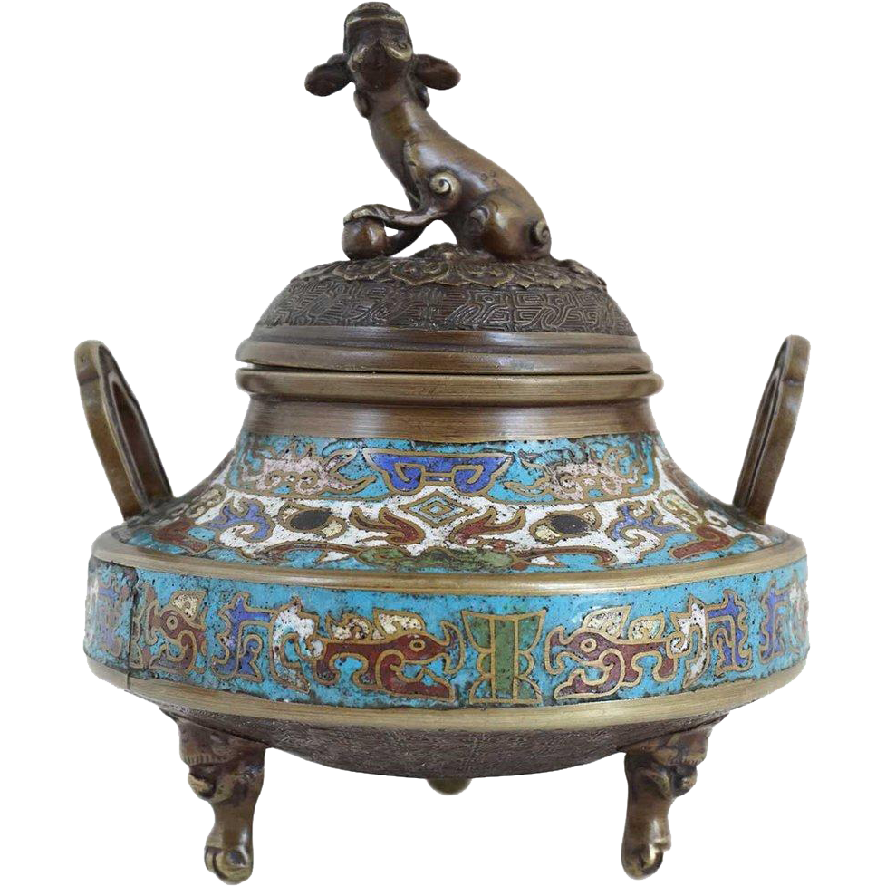 Small Chinese Champleve Enamel and Bronze Tripod Censer