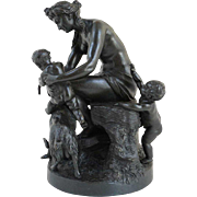 Small French Neoclassical Bronze Figural Group Sculpture
