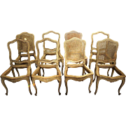 Set of Eight French Leon Dromard Caned Beech Side Chairs