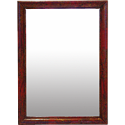 Small English Red and Gilt Rectangular Chinoiserie Wall Mirror