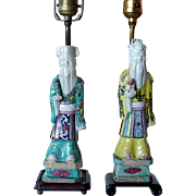 Two Chinese Porcelain Figural Table Lamps