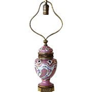 French Sevres Style Pink Floral Porcelain One-Light Table Lamp