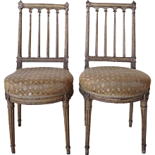Pair of Louis XVI Painted Beechwood Upholstered Boudoir Side Chairs