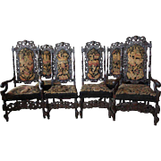 Set of Six American Jacobean Style Oak Dining Chairs