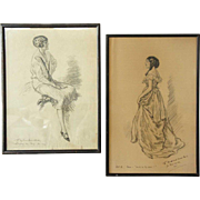 Two FREDERIC DORR STEELE Charcoal and Gouache Drawings, Theater Portraits