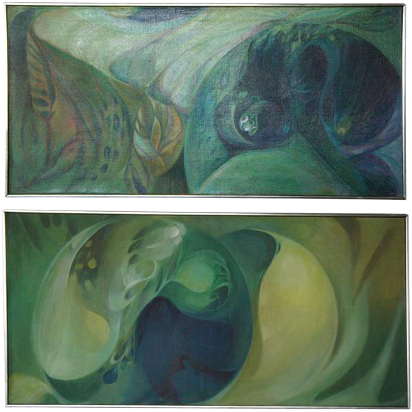 Two DONNA MARXER Modern Oil on Canvas Paintings, Nature