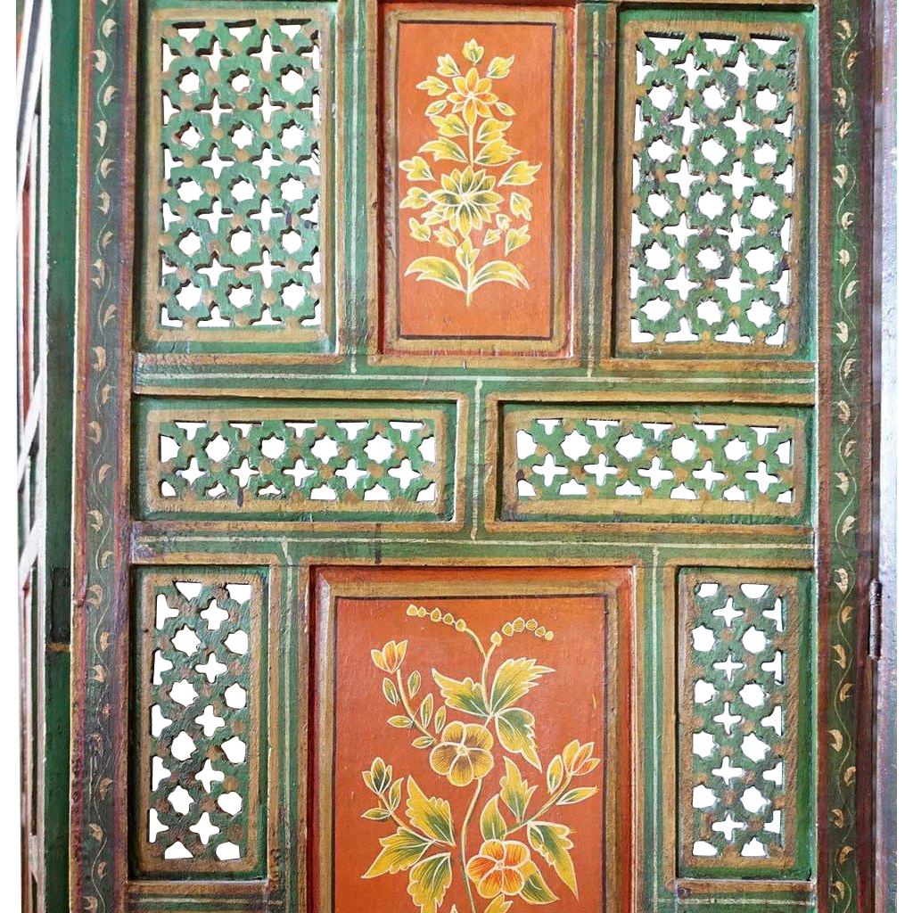 Vintage Indian Painted Teak Four-Panel Jali Screen