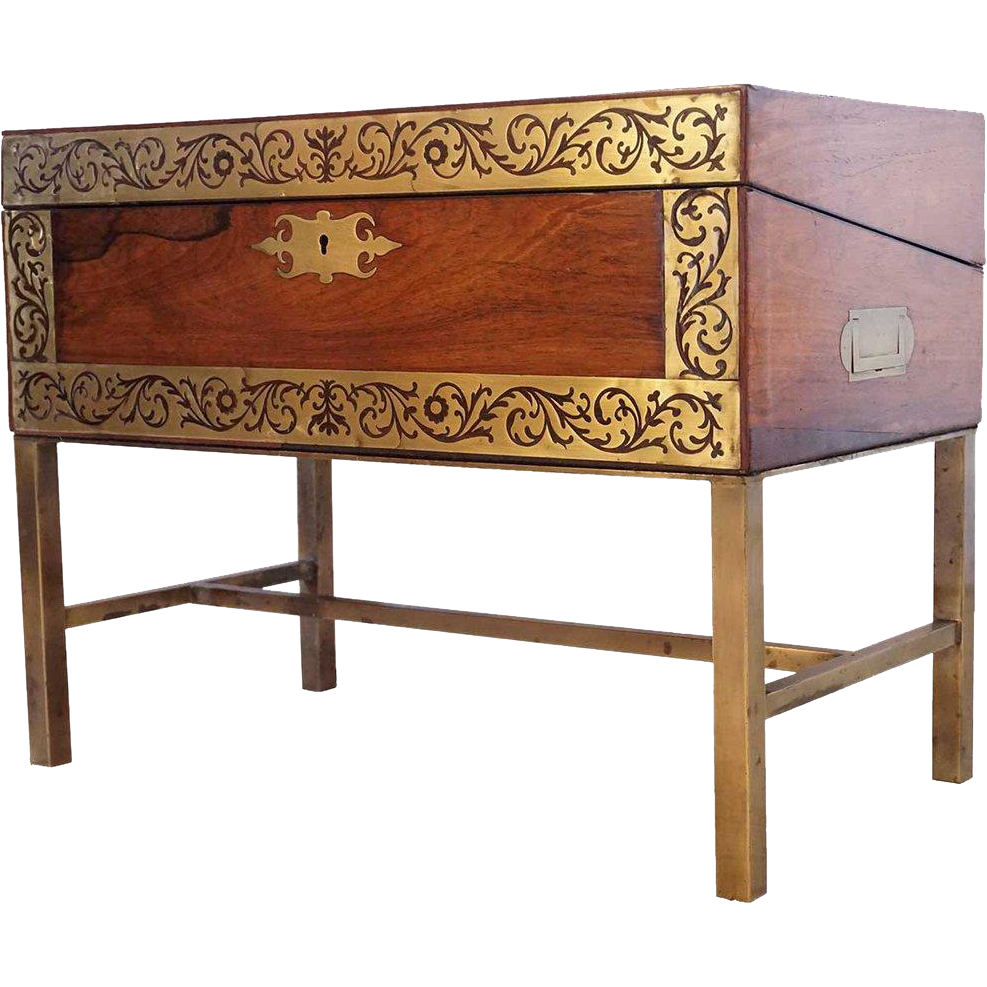 English Brass Inlaid Rosewood Lapdesk Box on Stand