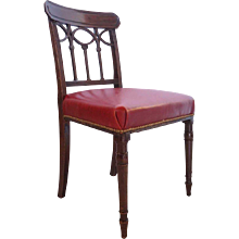 English Regency Red Leather and Mahogany Chair