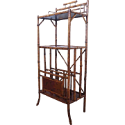 Tall English Victorian Bamboo Cantebury Shelf