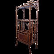 Tall English Victorian Bamboo Cantebury Shelf