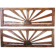 Pair Anglo Indian Polychrome Teak Sunburst Pierced Architectural Panels