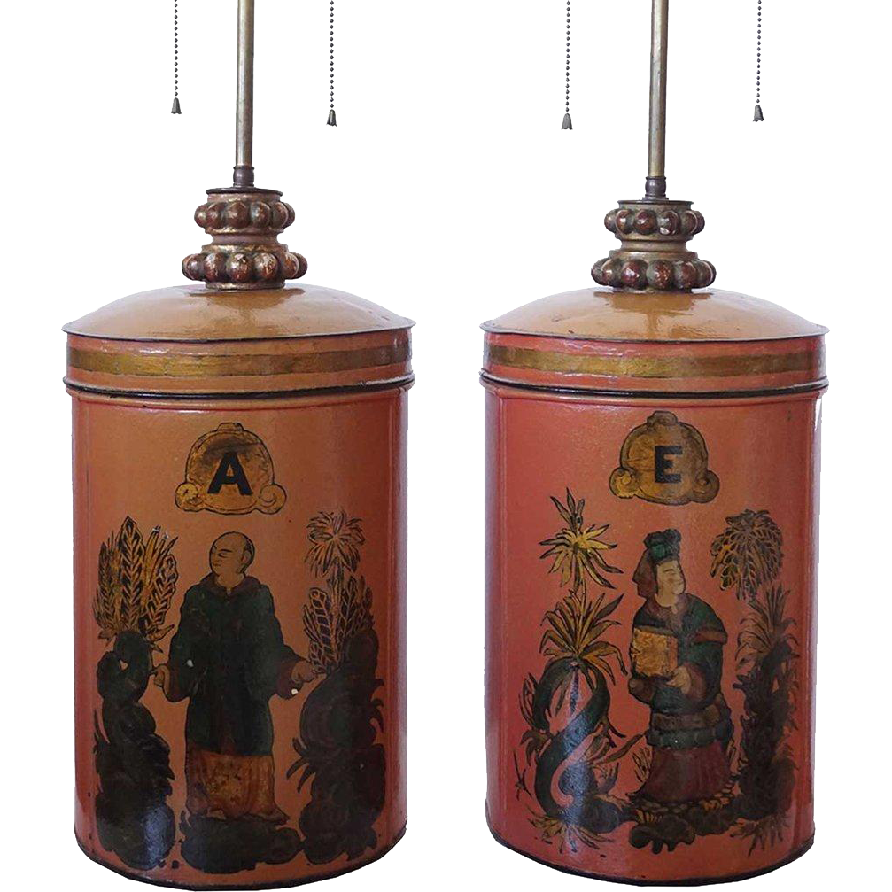 Pair of English Painted Tole Tea Canister Table Lamps