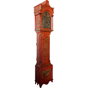English John Hurst Red Lacquer Pine Chinoiserie Grandfather Clock