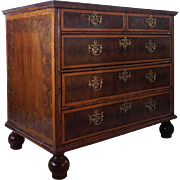 English Oyster Veneer Inlaid Chest of Drawers