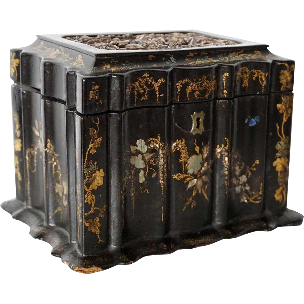 English Black Papier Mache and Silver Plate Jewelry Casket