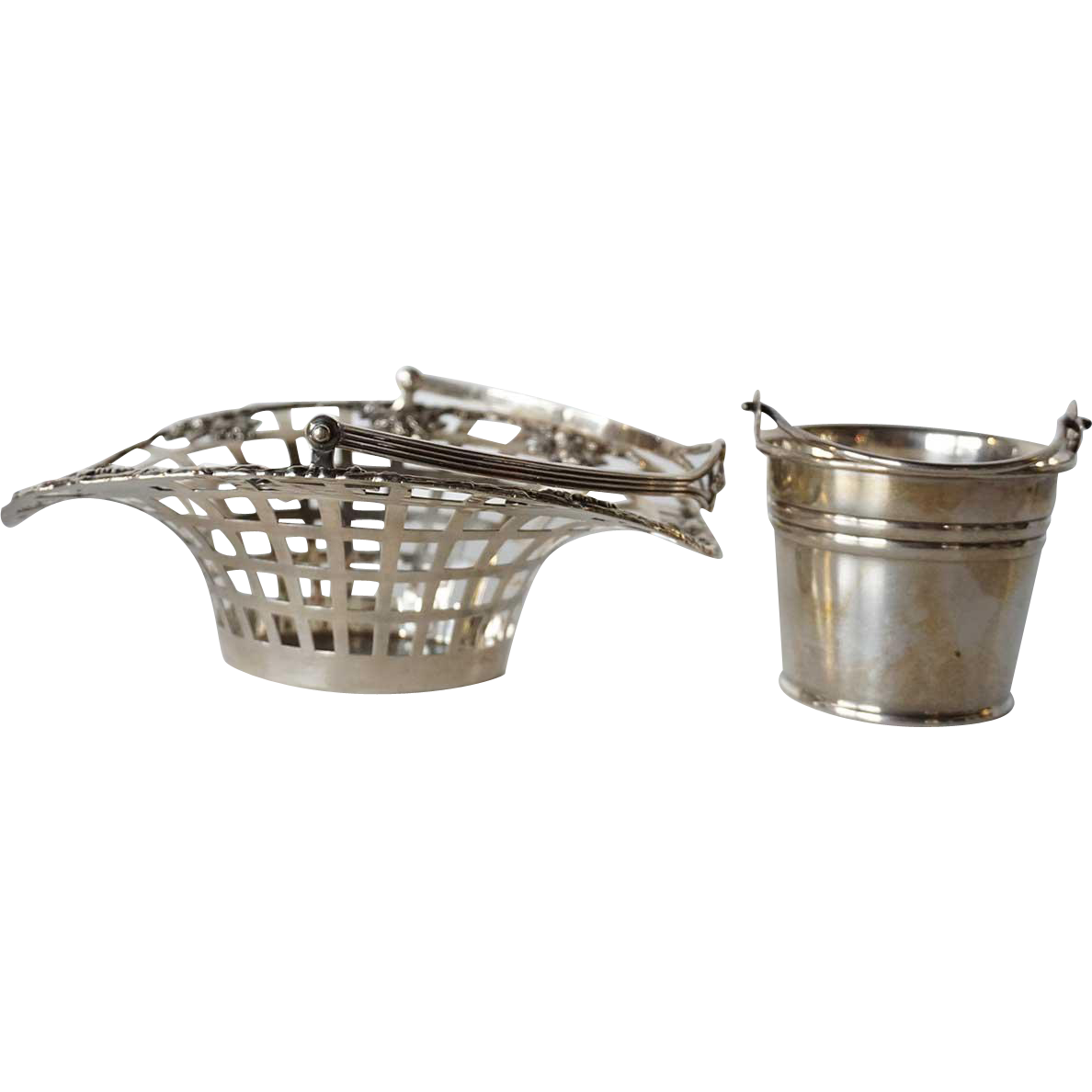 Small American Lebkuecher Sterling Silver Basket and San Giovanni Sugar Bucket
