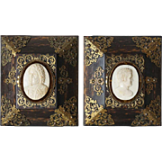 Pair of English Calamander and Ivory Portrait Book Ends now as Wall Art