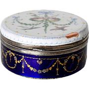 Small French Silver Mounted Hand Painted Enamel Round Snuff Box