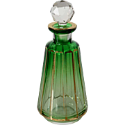 Small Austrian Moser Faceted Green Glass Parcel Gilt Perfume Bottle