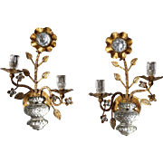 Pair Italian Style Hollywood Regency Gilt Metal and Cut Glass Two-Light Sconces
