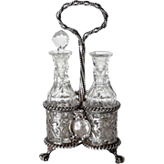 Miniature English Victorian Charles T. and George Fox Sterling Silver Three-Bottle Cruet Set
