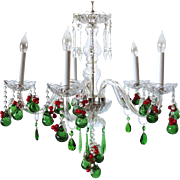 Small Vintage Page Company Crystal Five-Light Chandelier with Red Drops