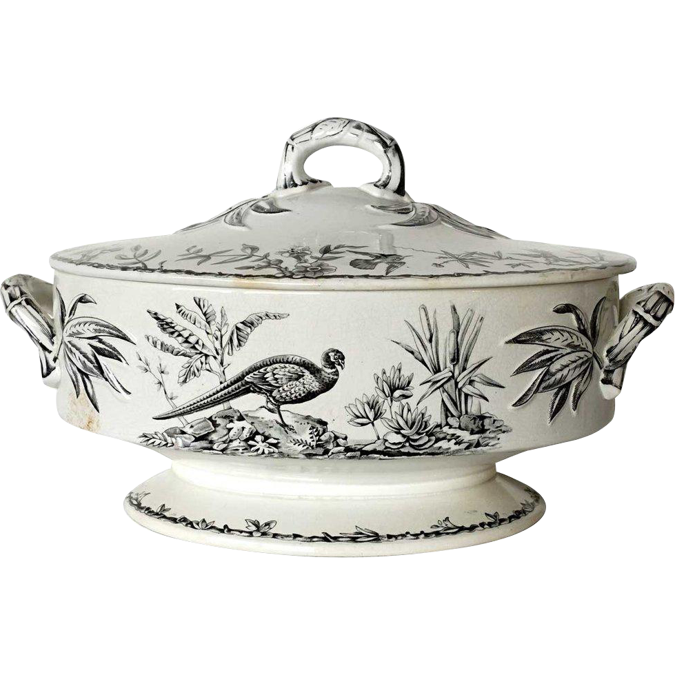 Large English Ridgway Aesthetic Movement Black Transferware Ironstone Tureen