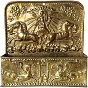 Neoclassical Zeus Brass Repousse Wall Pocket