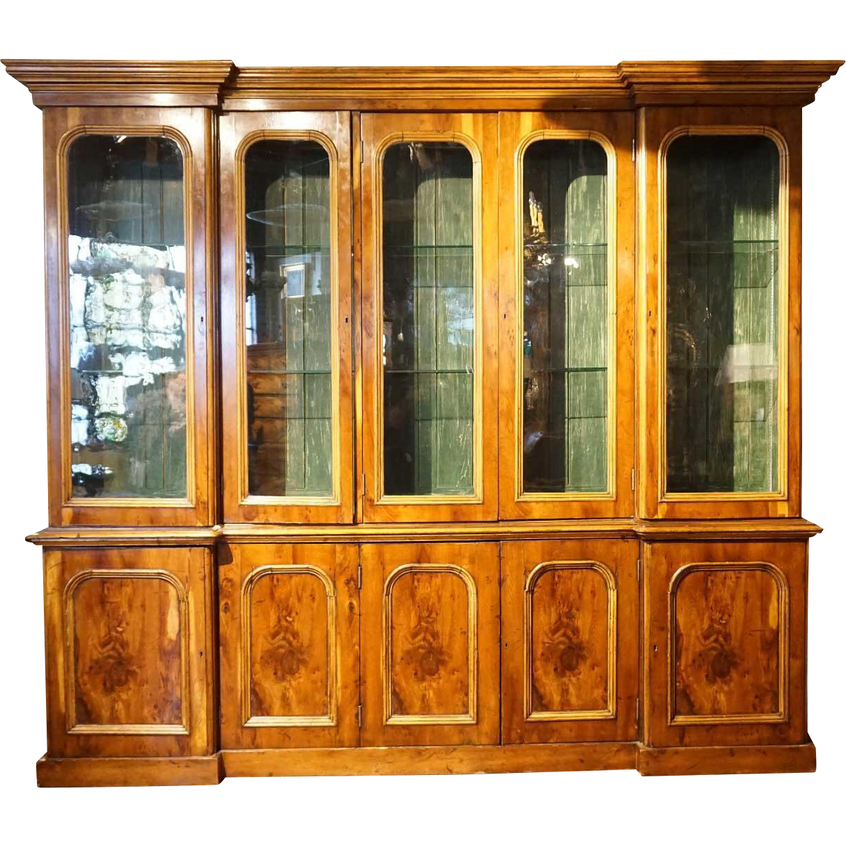Large English Pine and Yew Wood Veneer Glazed Door Bookcase