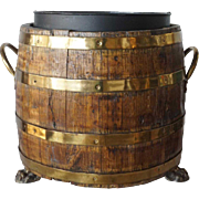 English Brass Bound Oak Barrel as a Planter