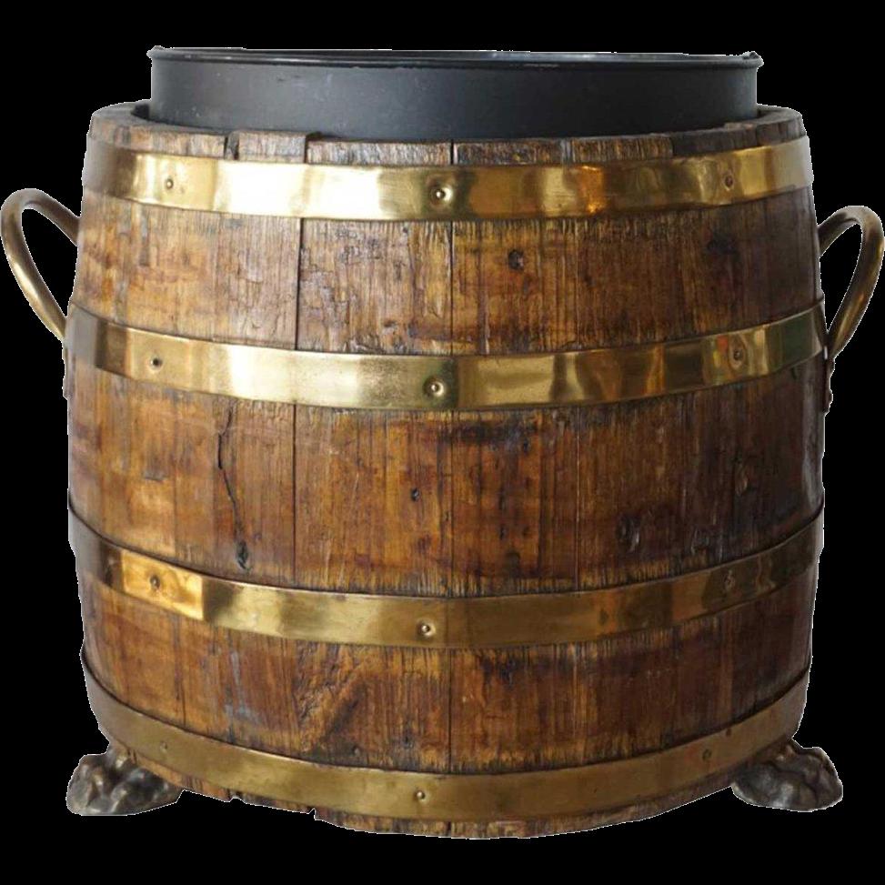 English Brass Bound Oak Barrel as a Planter