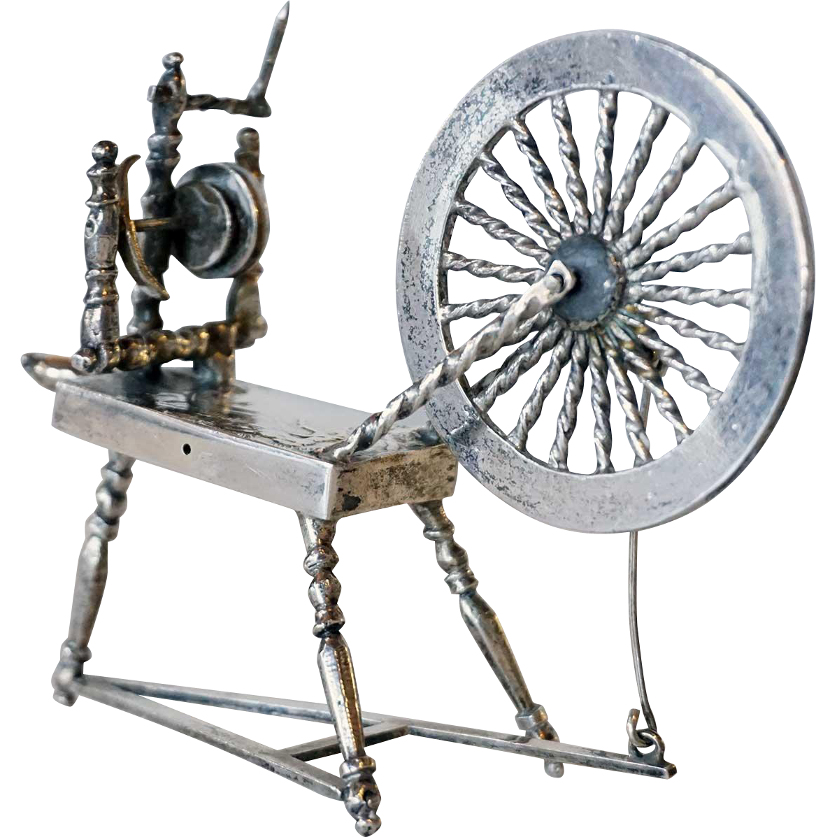 Dutch Silver Miniature Model of a Spinning Wheel