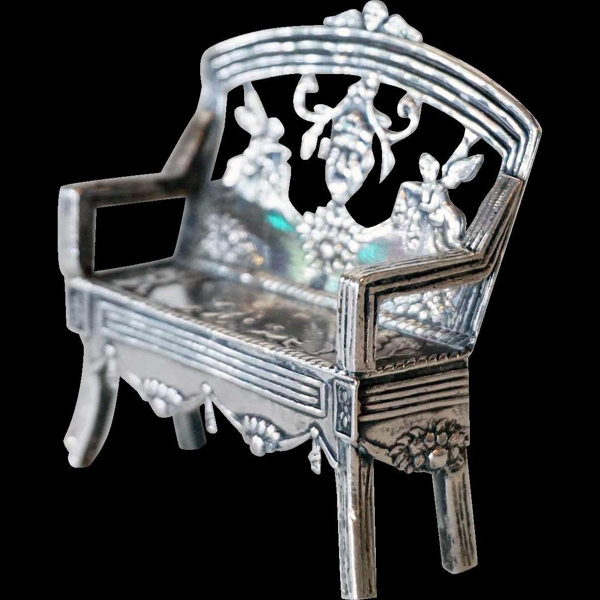 Dutch Silver Miniature Model of a Settee