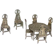 Dutch Hendrik Preyer Silver Miniature Model of a Table and Chairs (7 pieces)