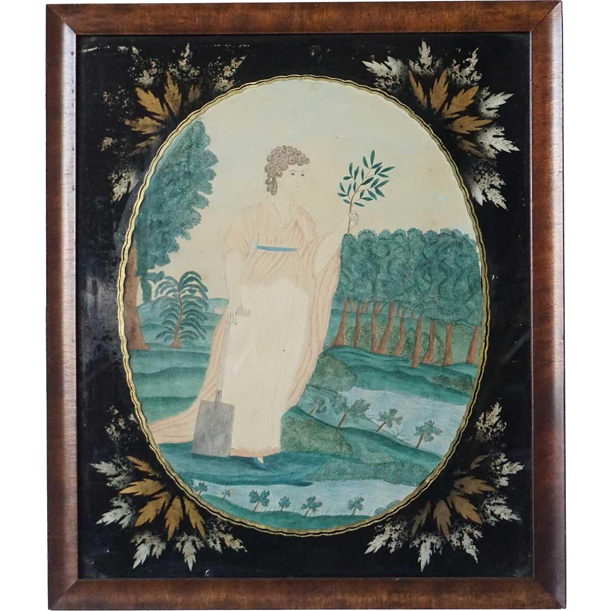 English George III Watercolor Portrait Painting with Verre Eglomise Frame