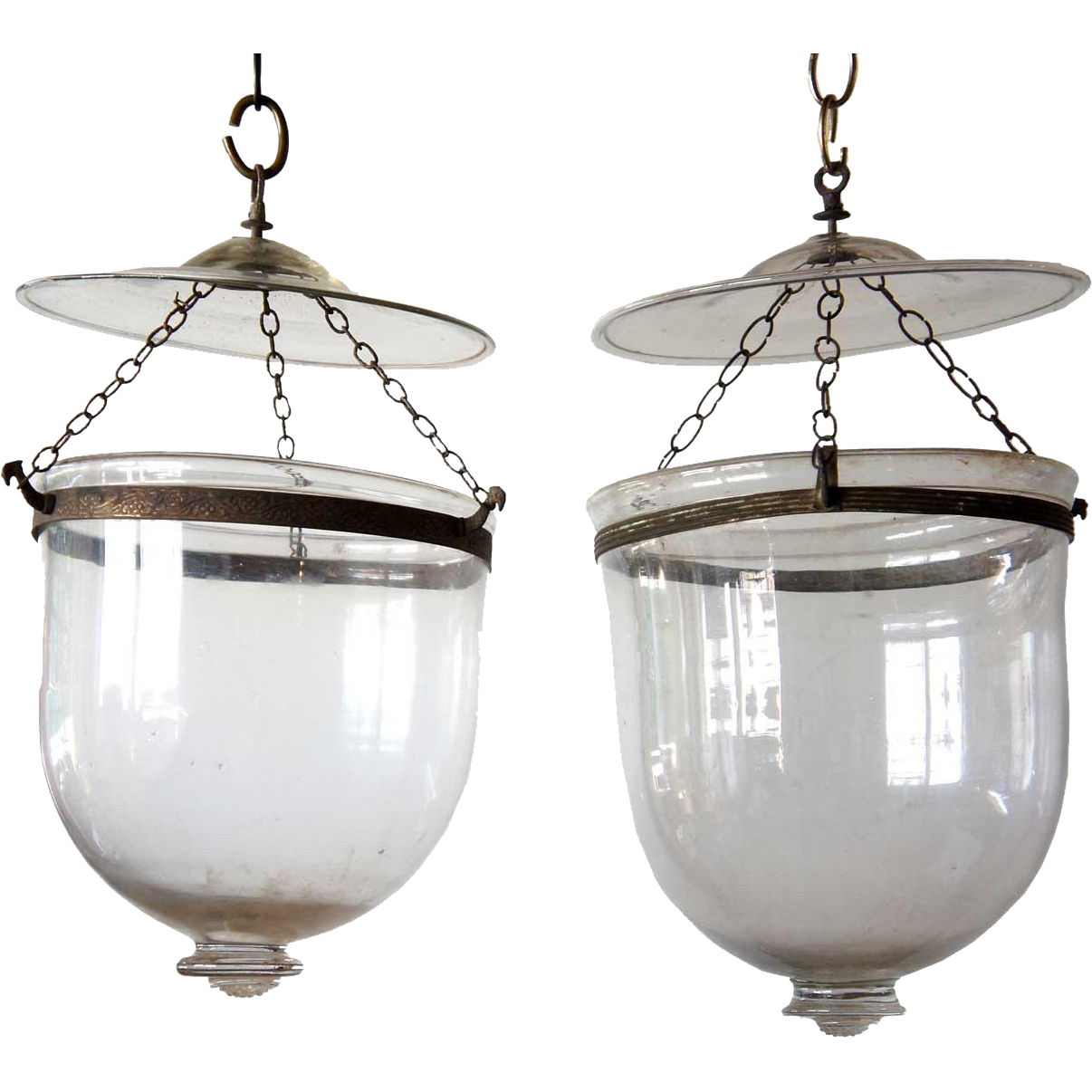 Pair of Anglo Indian Glass Hanging Hall Lights (Hundis)