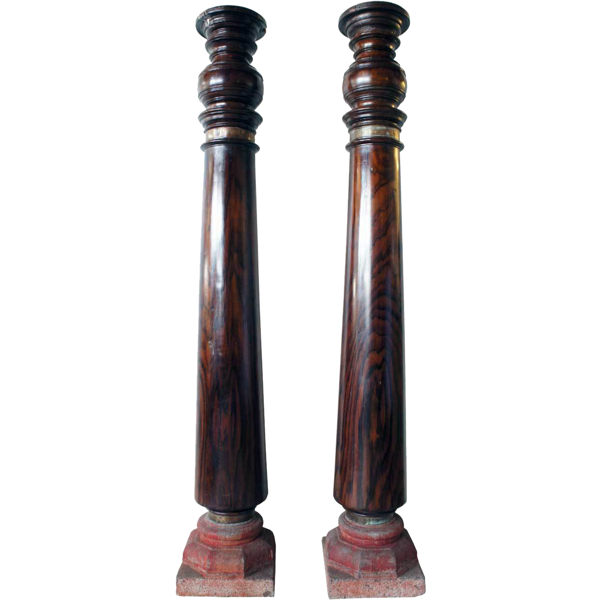 Pair of Indian Kerala Rosewood and Granite Base Columns