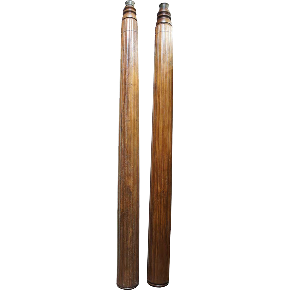 Antique 12 ft. Pair of South Indian Solid Teak Columns
