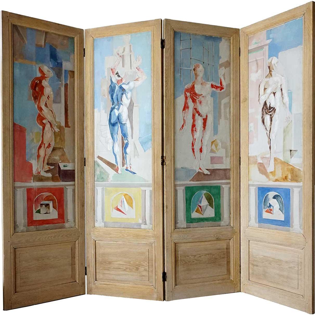 JACQUES CERIA DESPIERRE Painted Canvas Four-Panel Folding Screen plus 1 Panel