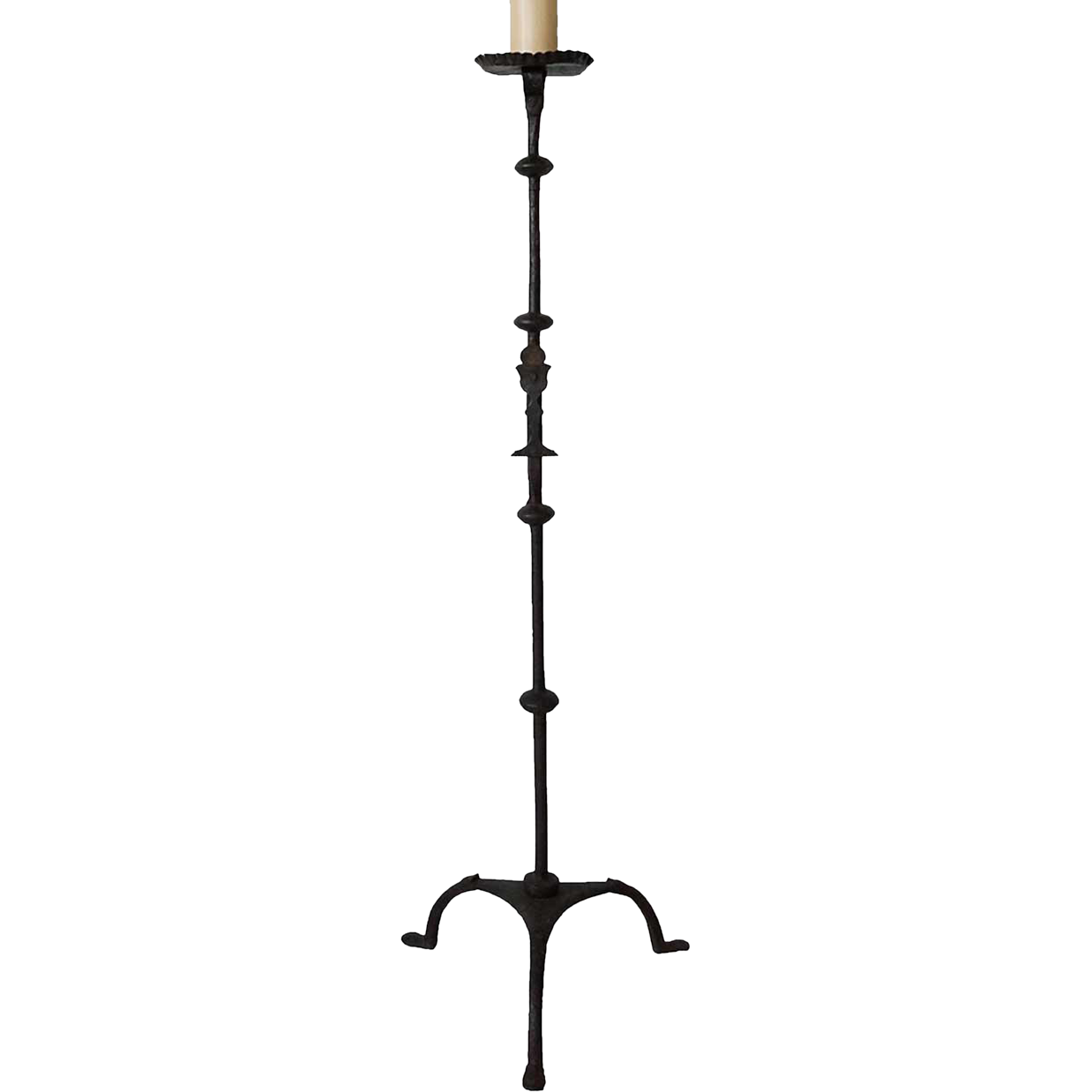 Spanish Wrought Iron Church Torchiere Candlestick as a Floor Lamp
