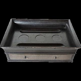 English Regency Brass Mounted Ebonized Inkstand Desk Box