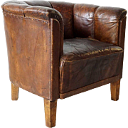 French Brown Leather Club Armchair