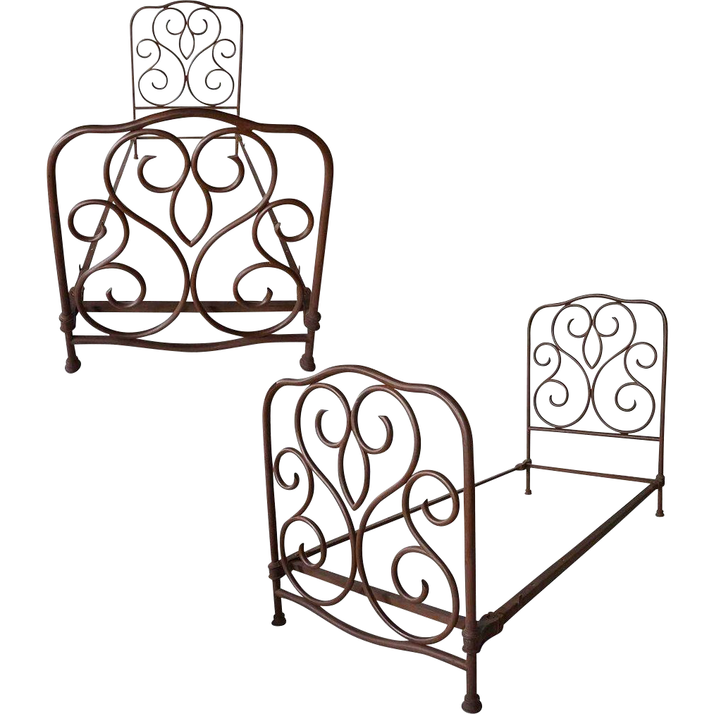 Pair of American Wrought Iron Single Beds