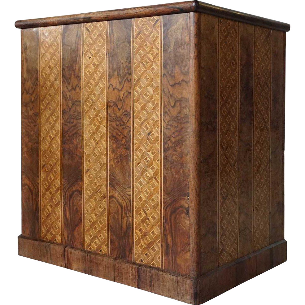 German Inlaid Circassian Walnut Lift-Top Box