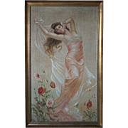 French LABREC Art Nouveau Oil on Canvas Painting, Portrait of a Maiden