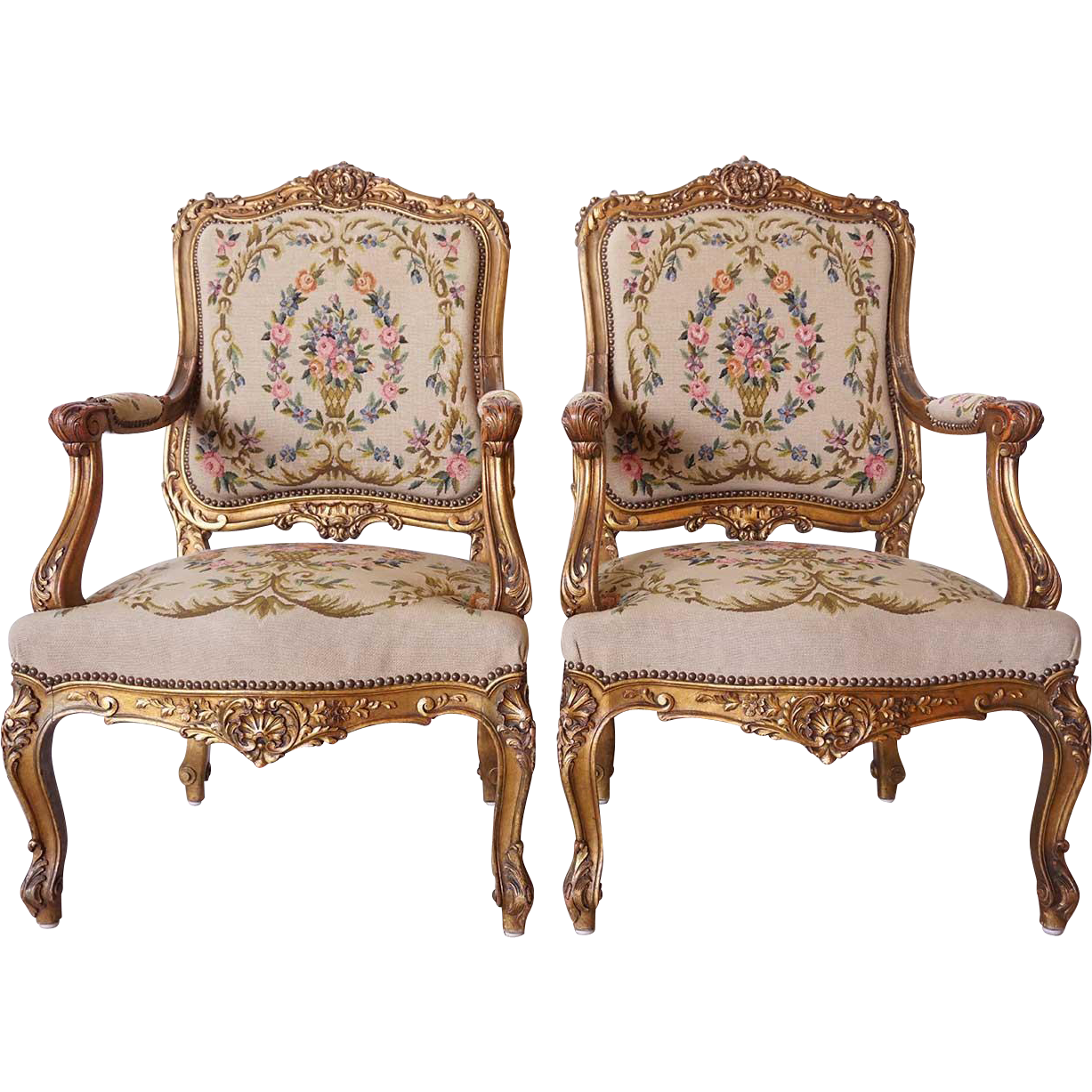 Pair of French Louis XV Style Gilt Beechwood Armchairs (Fauteuils)